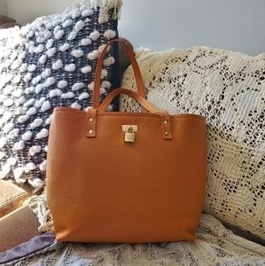 Gorgeous orange leather tote bag